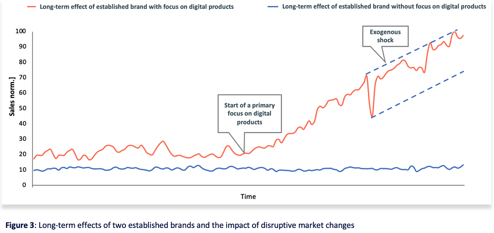 Figure 3 Long-term effects of two established brands and the impact of disruptive market changes